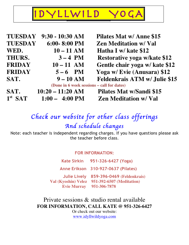 yoga sched